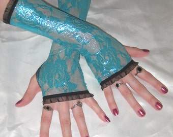 Arm Warmers Teal Blue Lace gloves Teal glimmer sheen Fingerless Gloves Sleeves - Ultramarine - Wedding Hand Fasting Belly Dance Gothic Goth