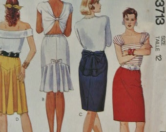 UNCUT 80's Easy McCall's Set of Pull On Skirts Back Peplum Back Flounce Back Vent Back Yoke with Flare 3713 Sewing Pattern Sizes 12