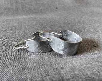 New! Smaller Sized Brushed silver earrings // Hoop earrings // Wide Hoop Earring // silver hoop earrings / Sevillana Hammered Hand Forged