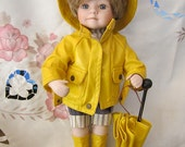 Rare German Collectible Boy Doll Holding an Umbrella,  Mid 80's Vintage