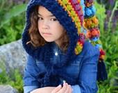 CROCHET PATTERN - Bohemian Nights Hoodie - crochet pixie hood pattern, boho hood, fairy hood (Child & Adult sizes) - Instant PDF Download