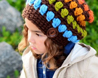 CROCHET PATTERN - Bohemian Nights Hat - chunky crochet hat pattern slouchy hat bulky yarn (Toddler Child Adult sizes) - Instant PDF Download