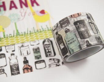 Vintage Bottles Washi Tape (30mm X 5M)