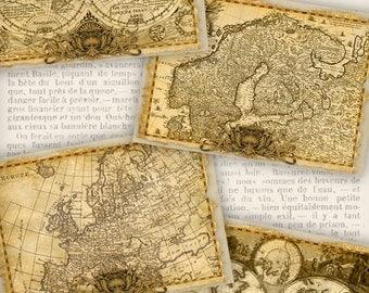 Vintage Maps Cards old printable paper craft art hobby crafting scrapbooking instant download digital collage sheet - VDCAVI1044