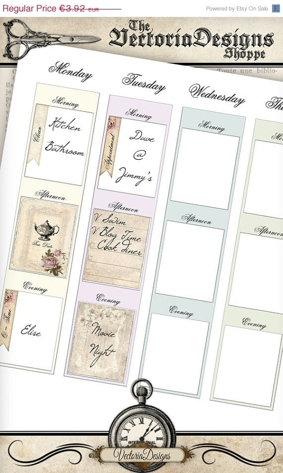 Shabby Chic Planner Elements Printable Vdplsc1018 From