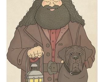 Hagrid and Fang - Rubeus Hagrid Print - Harry Potter Art - Harry Potter Prints - Harry Potter Decor