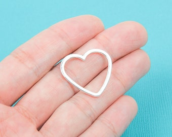 10 Silver Tone Metal OPEN HEART Charm Connector Links . CHS0016
