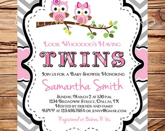 Owl Baby Shower Invitation, Twins Baby Shower, Twins, Girl, Pink, Chevron Stripes, Black, Gray, Twins, Owls Baby Shower Invitation, 1458