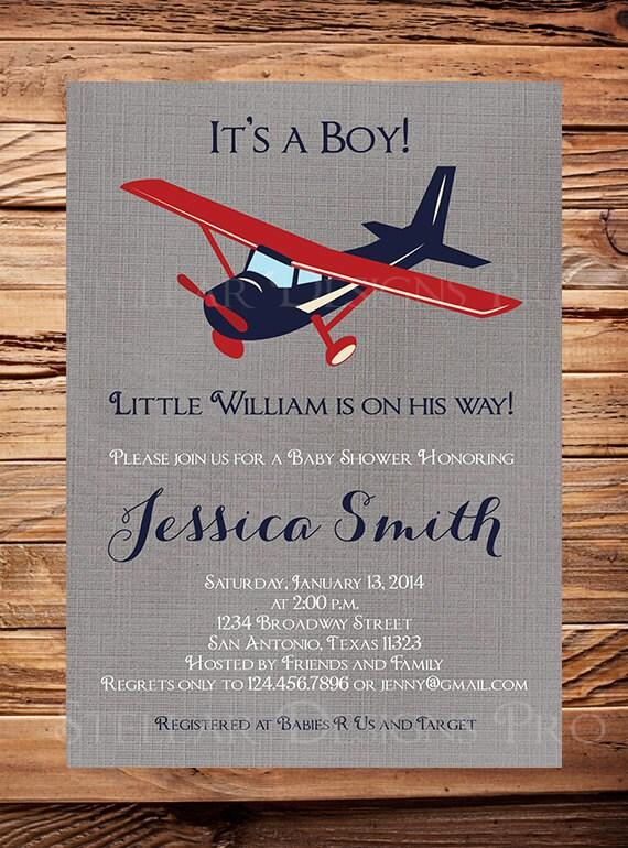 baby shower invitation airplane boy shower it 39 s a boy plane baby