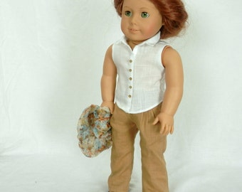 """Linen and Silk Handmade Doll Outfit for 18"""" Dolls Fits American Girl Doll Pleated Linen Pants, White Blouse, Silk Infinity Scarf, Sandals"""