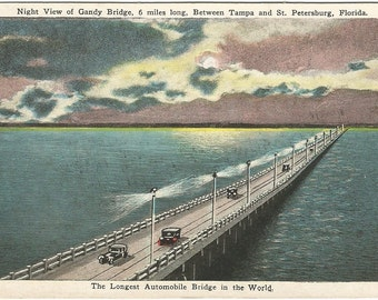 The Longest Automobile Bridge in the World Moonlit Night Scene Vintage Postcard E. C. Kropp Co. Tampa Florida To St. Petersburg Florida