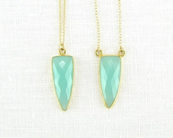Aqua chalcedony Arrowhead Necklace - Gemstone Necklace - Pendant Necklace