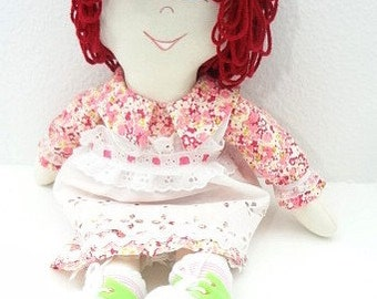 one of a kind cloth soft body traditional style cloth rag doll, hand made rag dolls, rag doll handmade, ragdoll  NF119