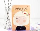 Birthday Girl Card, Happy Birthday Card, Blonde - Free Postage