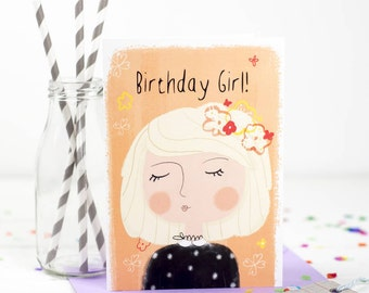 Birthday Girl Card - Birthday Card - Card For Sister Birthday - Card For Girlfriend - Her Birthday - Birthday Card For Friend - Blonde