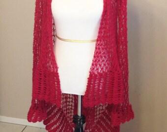 Long Cardigan, Long sleeved Cardigan, sweater, wrap, hand crochet, soft, light, delicate, lace cardigan, size Medium