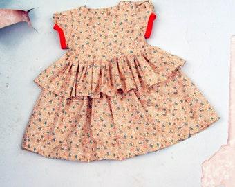 Size 5 SAMPLE SALE Girls Floral Cotton Dress Ruffle Skirt Dress Flower Girl Dress Orange Floral Dress Handmade Girls Clothing Spring Dress