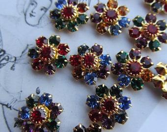 Vintage Swarovski Multicolored Jewel Flowers