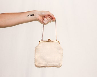 Vintage Off-White Beaded Corduroy Evening Bag