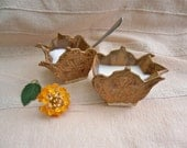 Toffee sugar bowl and creamer, teapot shaped with lace pattern -  handbuilt stoneware