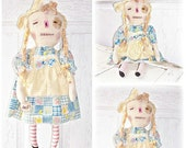 HANDMADE Primitive Folk Art Extreme Grunged Summer Raggedy Ann Annie Doll TOSCOFG