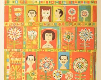 Vintage 16 x 20 Silkscreen Orginal Art Print: People, Cat, Flowers, Mandalas in Apartment Windows, Brooklyn, Signed & Numbered, Orange