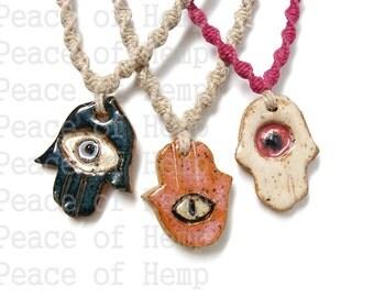 Hamsa Hemp Necklace