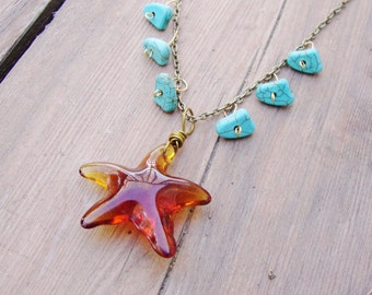 Hypnotic glass starfish with turquoise howlite on aged brass chain