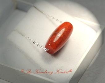 Deep Orange Dragon Vein Agate Gemstone Necklace, Orange gemstone necklace, Sacral Chakra Necklace, Orange Slider gemstone necklace