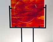 Modern Art Glass Iridescent Circle In A Square