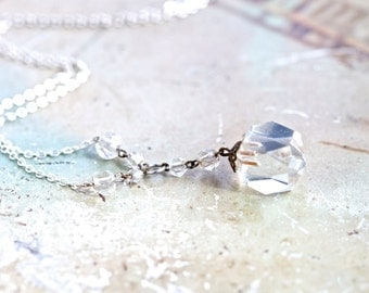 Crystal Clear - Antique Glass Square Faceted Pendant on Chain Necklace