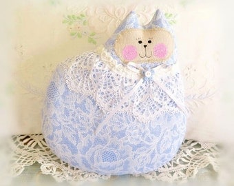 Cat Pillow Doll Cloth Doll 7 inch Cat, French Blue and White, Primitive Soft Sculpture Handmade CharlotteStyle Decorative Folk Art