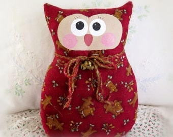 OWL Pillow Owl Doll, 9 in. Christmas Gingerbread, Soft Sculpture Prim Handmade CharlotteStyle Decorative Folk Art