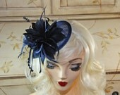 Navy Blue Fascinator - Mini Fascinator Hat - Kentucky Derby Fascinator - Tea Party Fascinator - British Fascinator - Feather Fascinator