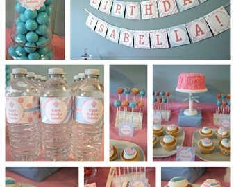 Editable Cupcake Party Pack and Invite - Instant Download, Printable Templates - Fill in Text and Print at home .. cp02