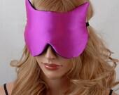 Silk Eye Mask Cat Sleep Mask, Hot Pink and Black Charmeuse, Fully Adjustable, Padded, Light Darkening for Sleep, Travel and Anti-Aging