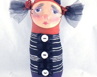 Folk Art Halloween Stump Art Doll