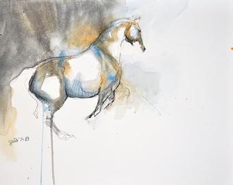 Esquive 3t - Original Black Chalk and Watercolor Horse Drawing