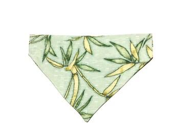 Large Green Silk Hawaiian Slip On Dog Bandana Over the Collar