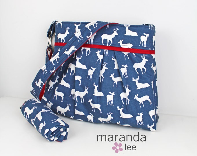 Stella Diaper Bag Set with Changing Mat Large Navy Deer with Red - Elk Woodland Nappy Bag Attach to Stroller