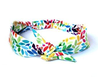 Rainbow Flower Hair Bow, Colorful Bow Tie Headband, Rockabilly Style Cute Summer Bandana