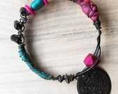 Gypsy Bracelet, Tribal Stacking Bangle, pink and blue leather, dark metal Belly Dance Jewelry, boho bracelet, coin amulet, beaded wire