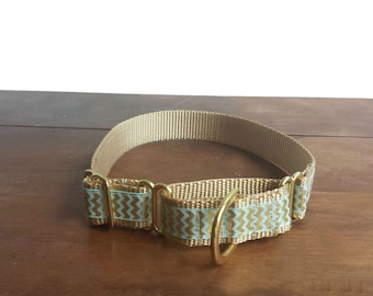 Chevron Dog Collar, Martingale Dog Collar, Gold Collars
