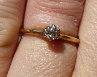 1920's  Rose Gold engagment ring....fancy colored light yellow EUROPEAN cut diamond