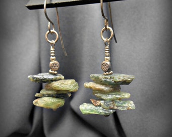 Rough Green Kyanite Stone Earrings with Oxidized Sterling Silver