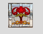 Beveled stained glass panel window Victorian red stained glass window panel window hanging clear flower