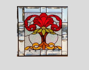 Beveled stained glass panel window Victorian red stained glass window panel window hanging clear flower 13 x 13
