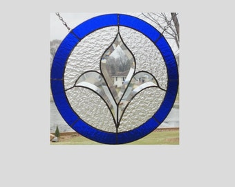 Stained glass window panel bevel cluster dark blue round stained glass panel window hanging stained glass flower suncatcher Victorian JB07B1