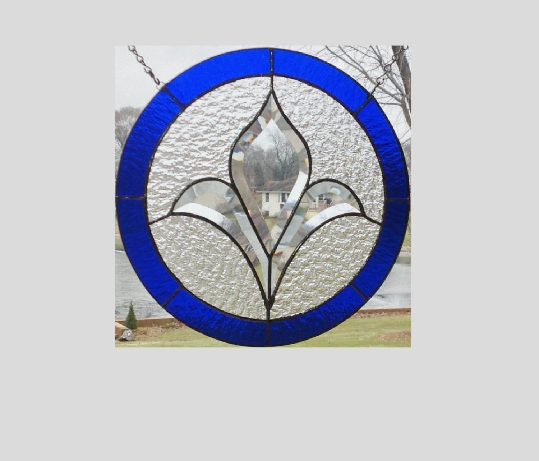 Stained Glass Window Panel Bevel Cluster Dark Blue Round