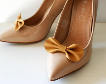 Wedding shoe clips, Yellow bow shoe clips, Leather bow shoe clips set of two, Mustard yellow shoe clips, Cute shoe clips, Leather shoe clips